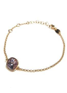 Italian Sterling Rose Gold Light Amethyst Swarovski Bracelet