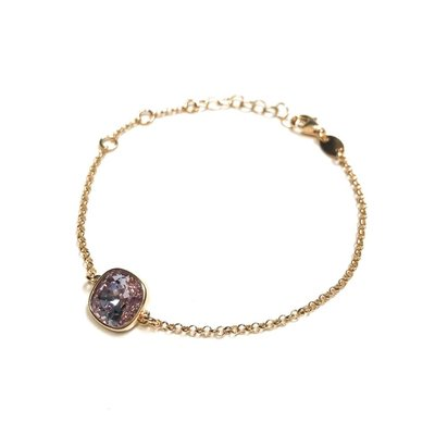 Qualita In Argento Italian Sterling Rose Gold Light Amethyst Swarovski Bracelet