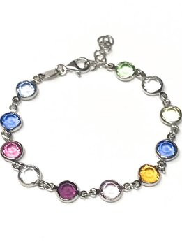 Italian Sterling Multiple Color Swarovski Bracelet