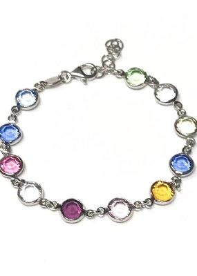 Qualita In Argento Italian Sterling Multiple Color Swarovski Bracelet