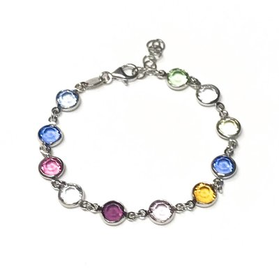 Qualita In Argento Italian Sterling Multiple Color Swarovski Bracelet