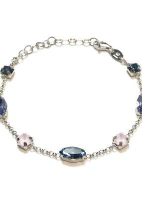 Qualita In Argento Italian Sterling Tanzanite and Denim Blue Swarovski Bracelet