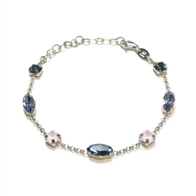 Qualita In Argento Italian Sterling Tanzanite and Denim Blue Swarovski Bracelet
