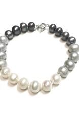 Qualita In Argento Italian Sterling Gray, Beige, and Light Gray Freshwater Pearl Bracelet