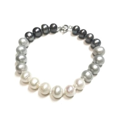 Qualita In Argento Italian Sterling Gray, Beige, and Light Gray Freshwater Pearl Bracelet