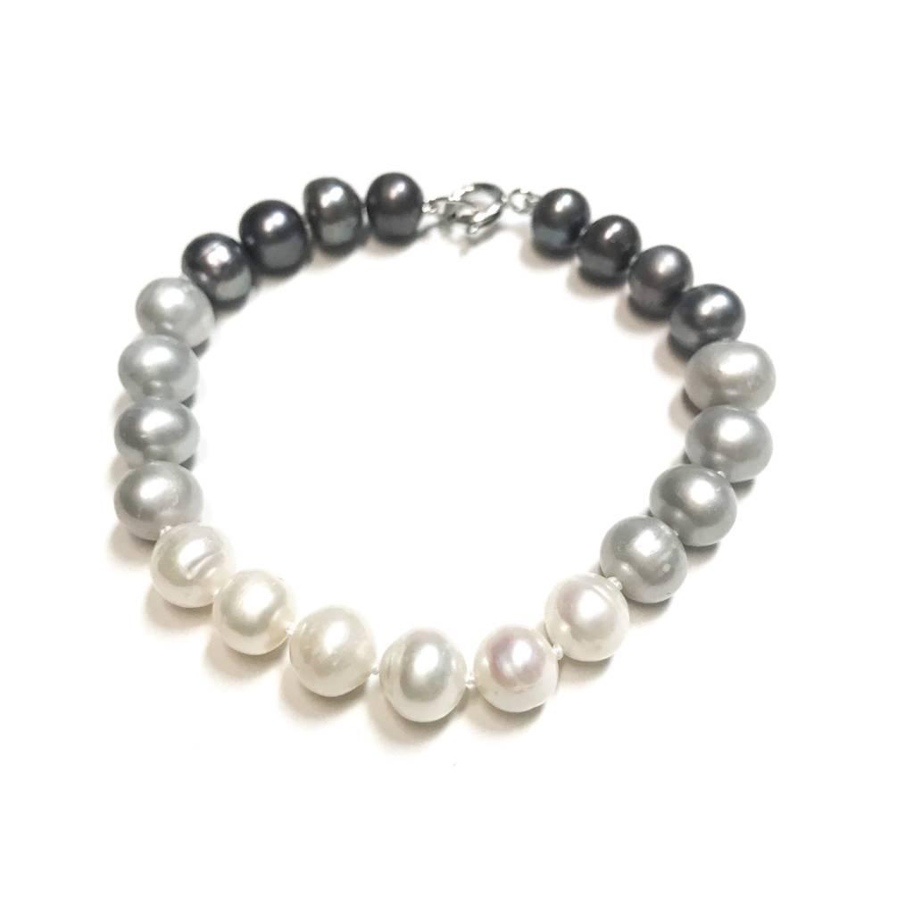 Italian Sterling Gray, Beige, and Light Gray Freshwater Pearl Bracelet