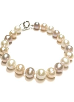 Italian Sterling Pink and Beige Freshwater Pearl Bracelet