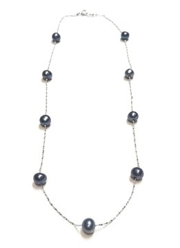 """Italian Sterling Freshwater Gray Pearl 18"""" Necklace"""