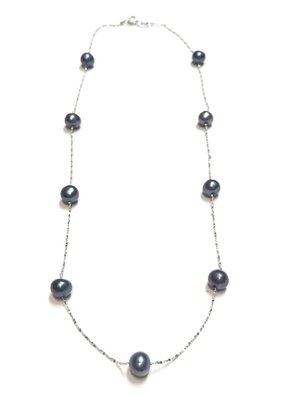 "Qualita In Argento Italian Sterling Freshwater Gray Pearl 18"" Necklace"