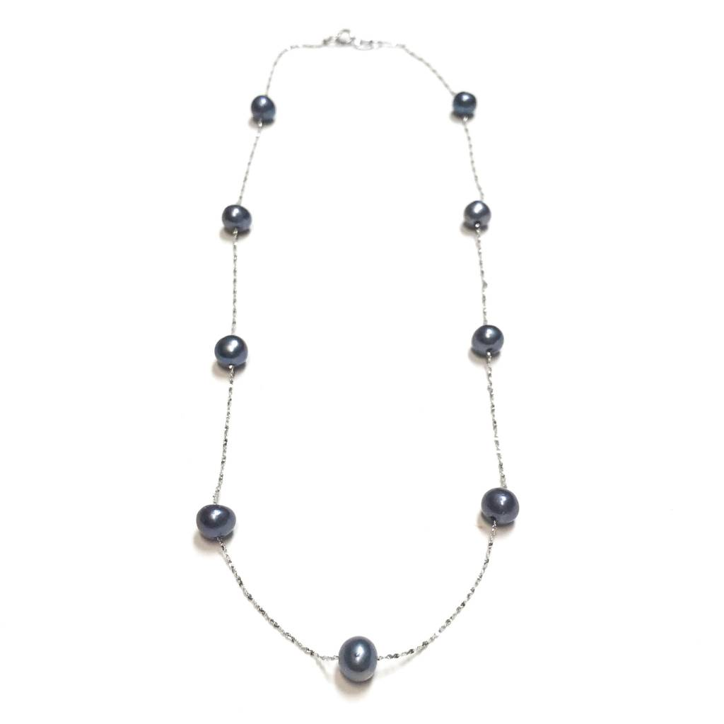 "Italian Sterling Freshwater Gray Pearl 18"" Necklace"