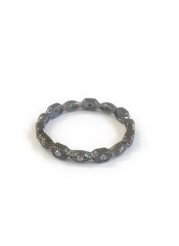 Qualita in Argento Italian Sterling Gunmetal Ring