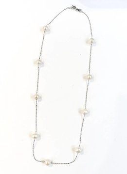 "Italian Sterling Freshwater Beige Pearl 18"" Necklace"