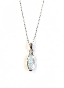 Italian Sterling White Opal Long Oval Necklace