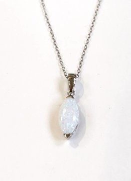 Italian Sterling White Opal Oval Necklace