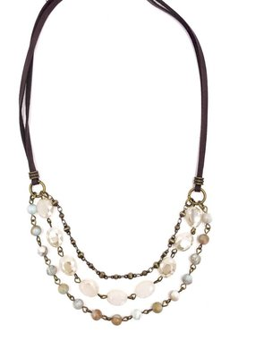 Inspire Designs Short Medley Necklace with Brown Leather Cord