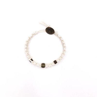 Inspire Designs Retro Weaved Cream Wrap Bracelet