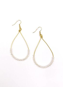 Inspire Designs Gold Dreamland Teardrop Earrings with Clear Beads