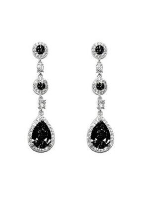 CZ Earrings Black