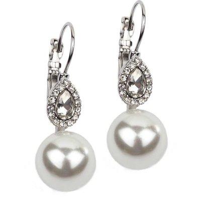 Silver Pearl + Rhinestone Leverback Earrings