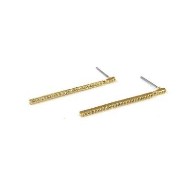 Gold CZ Delicate Bar Dangle Earrings