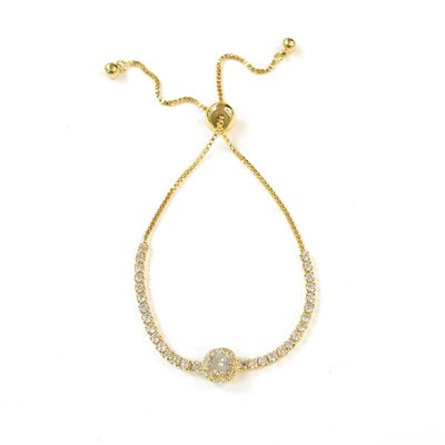 Classic Round Shape Cubic Pull Tie Gold