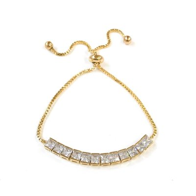 Square Crystal Cubic Zircon Brass Gold