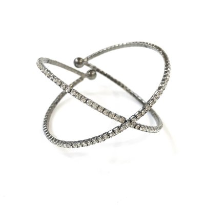 Gunmetal Crisscross Rhinestone Coil Wire Cuff Bracelet