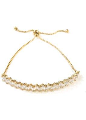 Crystal Cubic Zirconia Bar Brass Slide Gold