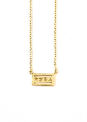 iiShii Sterling Silver Gold Plated Chicago Flag Necklace