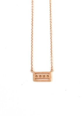 iiShii Designs Sterling Silver Rose Gold Plated Chicago Flag Necklace