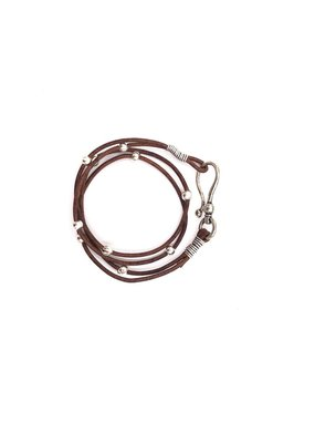Inspire Designs Double Leather Hook Wrap Bracelet with Silver and Brown Leather