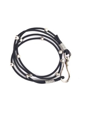 Inspire Designs Double Leather Hook Wrap Bracelet with Silver and Black Leather