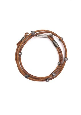 Inspire Designs Double Leather Hook Wrap Bracelet with Gunmetal and Brown Leather
