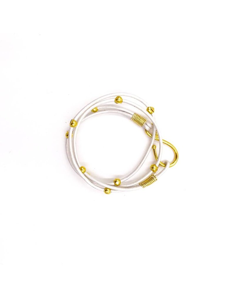Inspire Designs Double Leather Hook Wrap Bracelet with Gold and Pearl Leather
