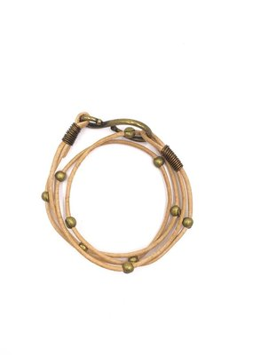 Inspire Designs Double Leather Hook Wrap Bracelet with Bronze and Natural Leather