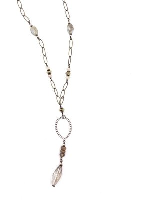 Inspire Designs Bronze and Silver Wisdom Necklace with Blue Beads