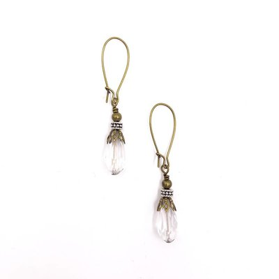 Inspire Designs Bronze and Clear Crystal Tear Drop Earrings