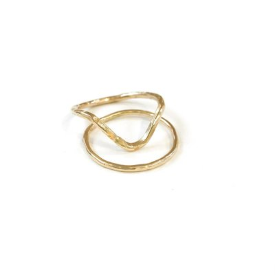 Something Charming 14K Gold Filled V Ring Set SZ8