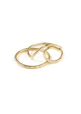 Something Charming 14K Gold Filled Wave Ring Set SZ 7