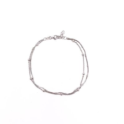 Qualita In Argento Italian Sterling Silver Ball Anklet