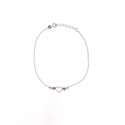 Qualita In Argento Italian Sterling Silver Triple Heart Anklet