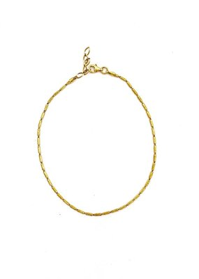 Qualita In Argento Italian Sterling Silver Gold Tube Pyramid Link Anklet
