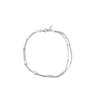 Qualita In Argento Italian Sterling Silver Two Layer Anklet