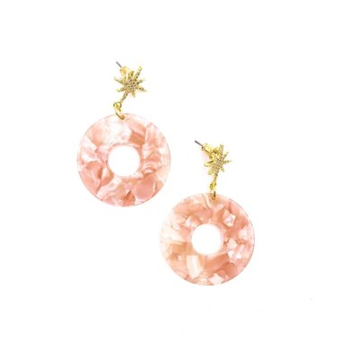 Nakamol Pink And White Resin Dangle Circle Earrings With Gold Pave Stars