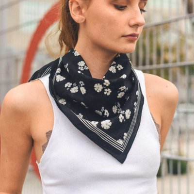 Black Dainty Floral Lightweight Bandana Square Scarf