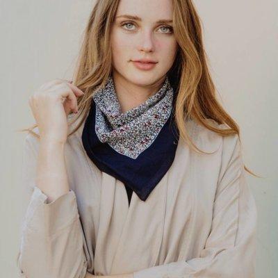Ditsy Floral Wide Border Handkerchief Scarf