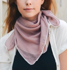 Mauve Scallop Stitch Trim Bandana Square Scarf