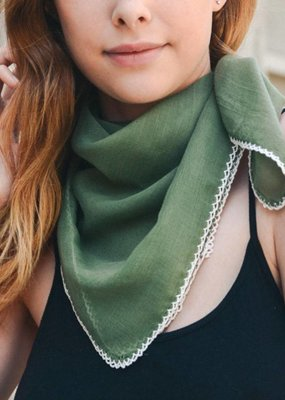 Green Scallop Stitch Trim Bandana Square Scarf