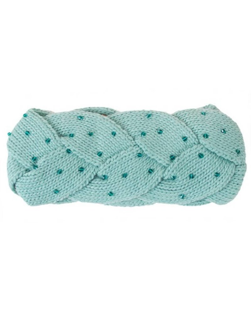 C.C. Seafoam Green Braided Headwrap with Beads