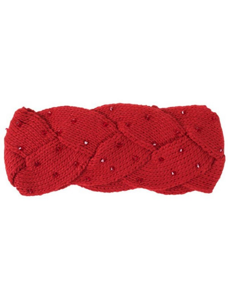 C.C. Red Braided Headwrap with Beads